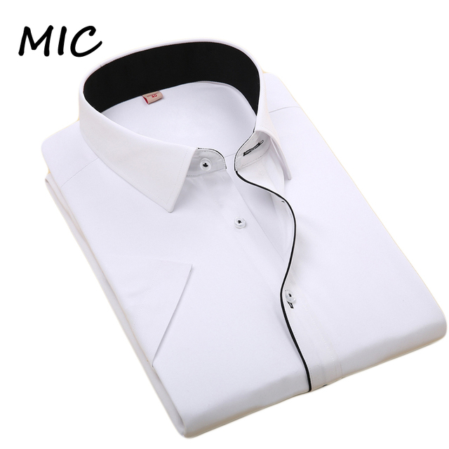 Free shipping 2017 summer new men's short sleeved dress shirt bussines casual formal silm fit shirts men large size high quality