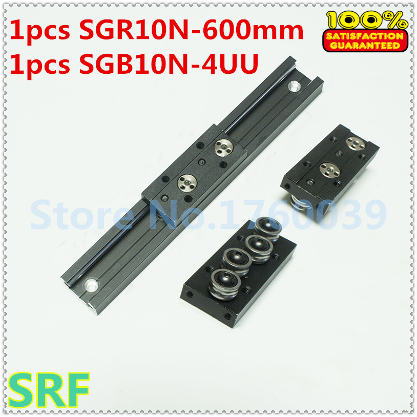 28mm width Rectangle Roller Linear Guide Rail 1pcs SGR10N Length=600mm with SGB10N-4UU four wheel slide block for CNC part high quality 38mm width rectangle wheel linear rail set 1pcs sgr15v l 1000mm rail with 2pcs sgb15v 4uu four wheel slide block