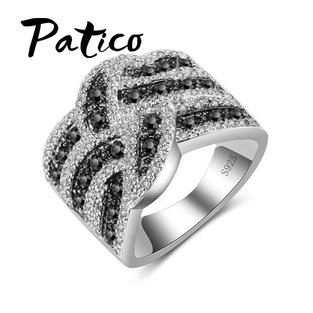 PATICO Top Quality 925 Sterling Silver Wedding Rings For Women Black&Clear CZ Crystal Finger Rings Bague Anel Men Rings Jewelry vanaxin 925 sterling silver rings for men jewelry iced out cz crystal anel masculino joias engagement wedding rings bague homme