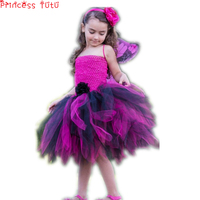 Black and Hot Pink Fairy Princess Cosplay Girl Tutu Dress for Halloween Party Butterfly Inspired Costume Kids Baby Tutu Dress