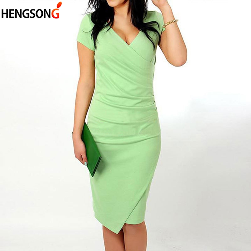 Candy Color Office Lady Dress Sexy V Neck Short Sleeve High Waist Bodycon Dress Women Summer Slim Casual Pencil Dresses