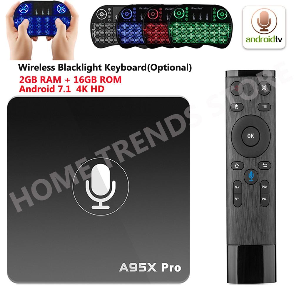 A95X Pro Android 7,1 ТВ коробка 4 ядра Amlogic S905W H.265 2 ГБ 16 ГБ 2,4 ГГц Wi-Fi 4 K HD медиаплеер голос Управление Smart ТВ коробка