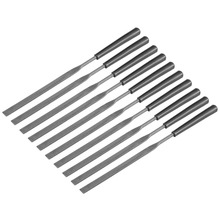 UXCELL 10PCS 3mm x 144mm Second Cut Steel Flat Needle File,Plastic Handle for Shape Steel, Glass, Tile, Stone, Metal Glass Stone
