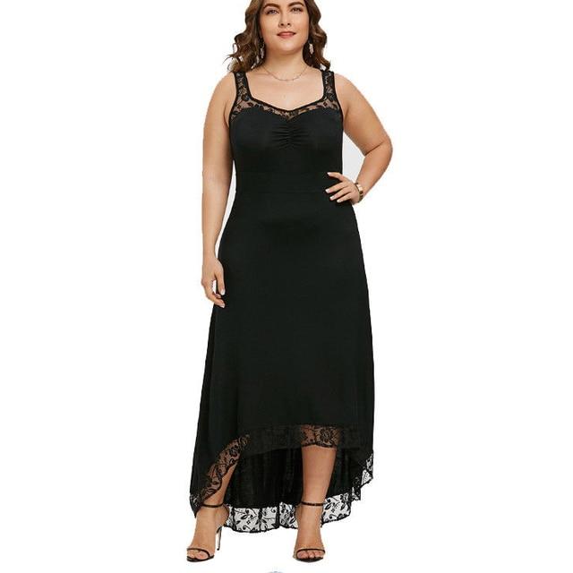 5b531cfbf5 Nova 2018 mulheres sexy lace floral patchwork Elegante vestido longo sem  mangas moda Assimétrico Clube Casual
