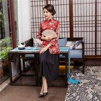 Shanghai Story mandarin collar traditional Chinese tops Cheongsam Top 3/4 Sleeve Chinese blouse for women