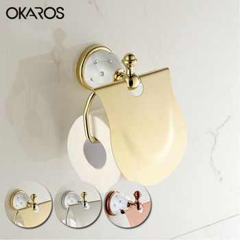 OKAROS Toilet Paper Holder Solid Brass Golden Chrome Finish Diamond Decoration Roll Holder Tissue Holder Bathroom Accessories