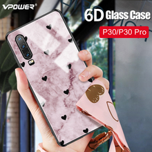 For Huawei P30 Pro Glass Case 6D Patterned Luxury fashion Tempered Silicone Frame Hard Cover huawei p30 pro