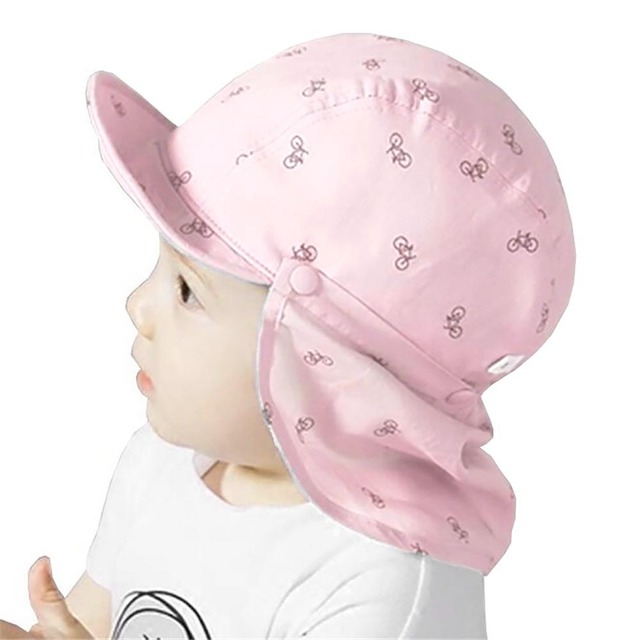 Summer Baby Kids Bike Printed Sun Protection Hat Cotton Flap Cap With Soft  Brim 28914d657b66