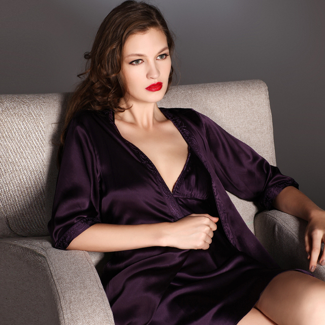 Female silk mulberry silk sleepwear deep V-neck spaghetti strap nightgown robe twinset spring and summer d-8031