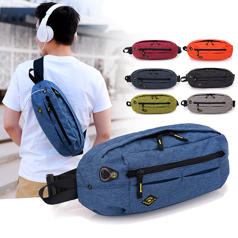 Outdoor Leisure Sport Bags Waterproof Nylon Chest Bag Shoulder Bag Large Capacity Messenger Bag Fashion Casual Pockets
