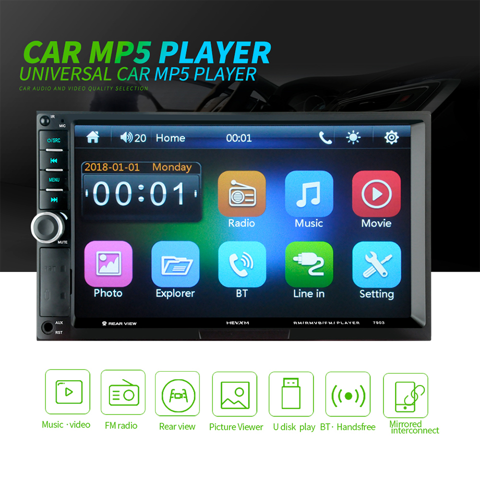 Tragbares Audio & Video Aiyima 2 Din Mp5 Player Bluetooth Multimedia Video 7 touch Screen Musik Player Hd Digital Display Fm Usb Tf Aux Mit Kamera