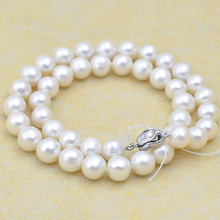 10mm Natural freshwater pearl necklace 42cm natural round beads pearl fine jewelry statement necklace pearl jewelry bijoux women