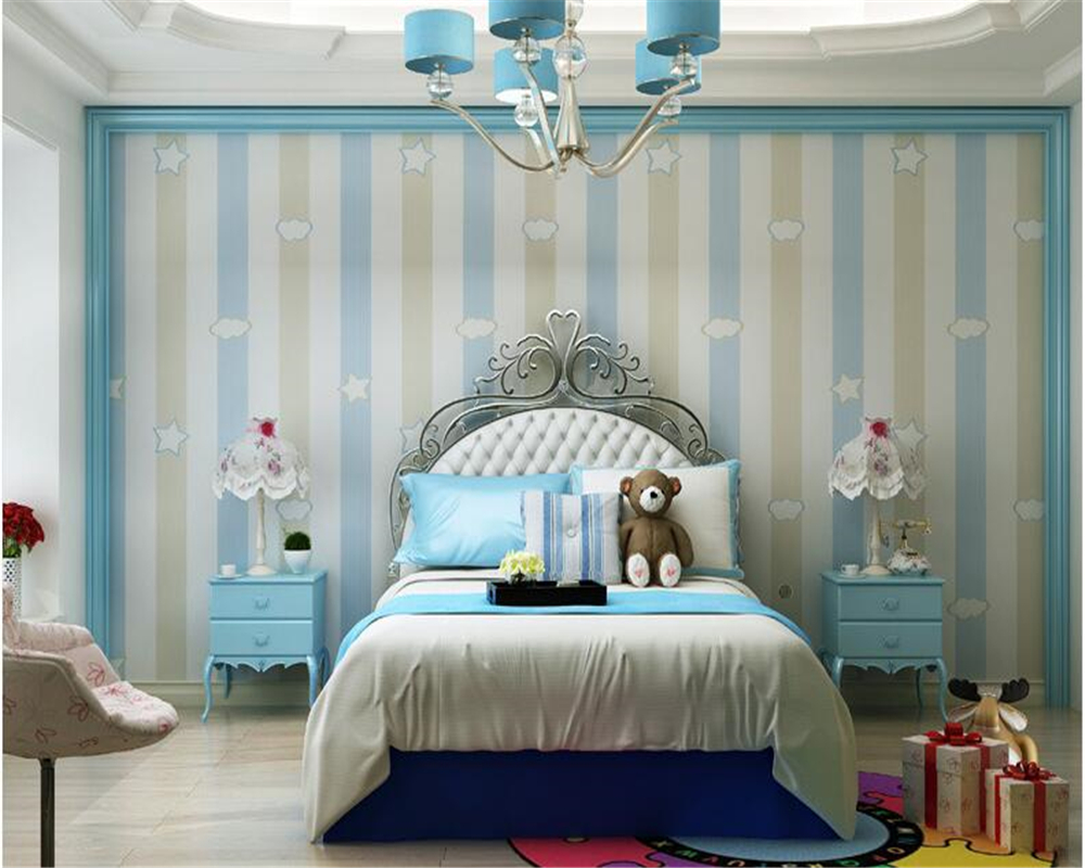 . US  28 86 26  OFF Mediterranean stars moon children s room wallpaper green  cartoon vertical stripes boy girl bedroom wallpaper behang Beibehang in