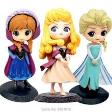 Q Посткет Ельза Анна Спляча красуня ПВХ Дії Фігурки Снігова королева Аврора Брюар Роуз Кукла Статуетки Дитячі іграшки для дітей Дівчата
