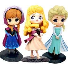 Q Posket Elsa Anna Sleeping Beauty PVC Aksi Angka Snow Queen Aurora Briar Rose Boneka Figurines Anak Mainan untuk Anak Perempuan