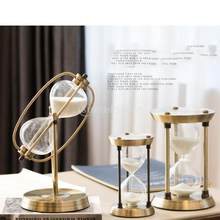 15/30/60 Minutes Hourglass Sand Timer For Kitchen School Iron Hour Glass Sandglass Sand Clock Tea Timers Home Decoration Gift(China)