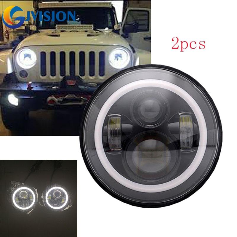 7 LED Headlights Bulb with Halo Angel Eye Ring & DRL & Turn Signal Lights for Jeep Wrangler JK LJ CJ Hummer H1 H2