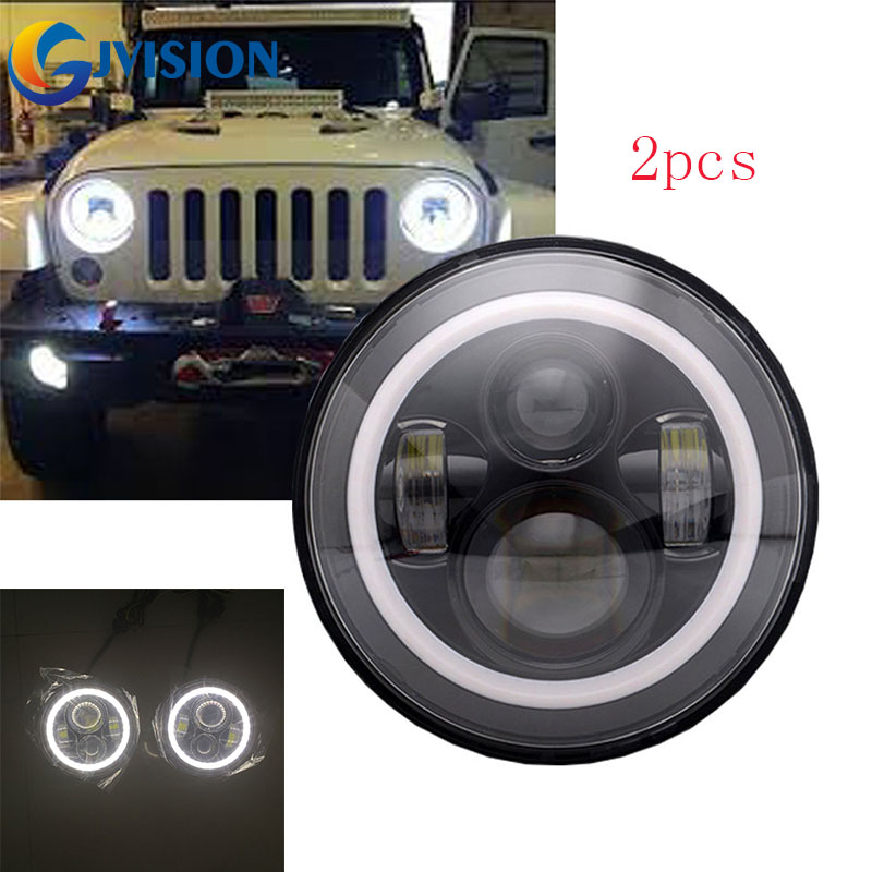 For Jeep Wrangler JK 7 inch led H4 Headlights Car lamps With White Halo ring angel eyes for Hummer H1 H2 Lada 4x4 Urban Niva 2psc 7 inch led headlight h4 h13 hi lo with halo angel eyes 50w for lada 4x4 urban niva jeep jk land rover defender hummer