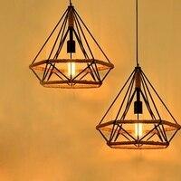 로프트 장식 다이아몬드 철 로프 droplight 빈티지 펜 던 트 전등 다이닝 룸 에디슨 led 매달려 램프 홈 조명