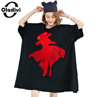 Oladivi Plus Size Summer Women T-Shirt Red Goldfish Embroidery Tops Shirts Female Casual Tees Tunics Loose Dress Black 10XL 9XL
