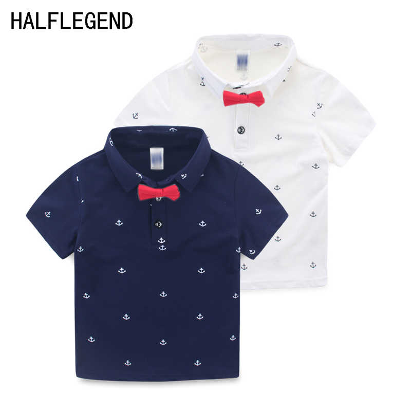 High Quality Boys Shirt Baby boys Clothes short sleeve shirts for boys Polo Shirt with Bow Tie for children 2-8y Summer clothes