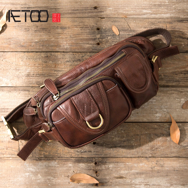 Men Genuine Leather Cowhide Vintage Sling Chest Back Day Pack Travel Fashion Cross Body Messenger Shoulder Bag Brown Dark Brown one Size