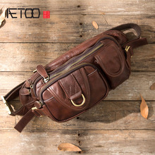 AETOO Quality Men Genuine Leather Cowhide Vintage Sling Chest Back Day Pack Travel Fashion Cross Body Messenger Shoulder Bag men genuine leather first layer cowhide high quality sling chest bag travel vintage cross body messenger shoulder bag new