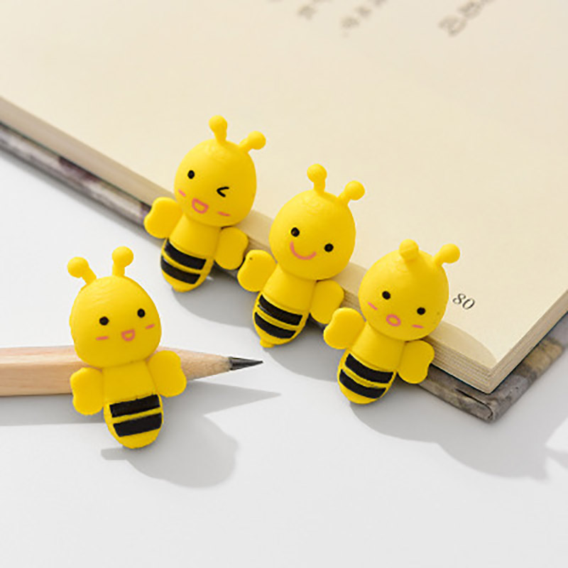 3 Pcs/Pack Cute Kawaii Mini Animal Insect Little Yellow Bee Erasers Rubber Pencil Erasers School Office Supplies Stationery Gift
