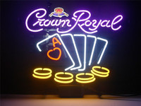 NEON SIGN Crown Royal Poker Chips Signboard REAL GLASS BEER BAR PUB Display Outdoor Light Signs