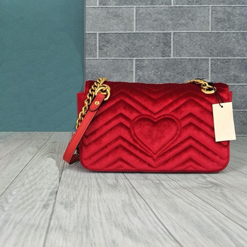 Sacs à bandoulière femme velours de luxe de qualité supérieure sacs messenger femme pour femmes marque Designer chaîne dos amour coeur dame sacs