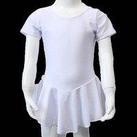 Танцора выбор Продажа оптом белый блестящий лайкра Кепки короткий рукав балет обогнул танец купальник платье юбки для девочек