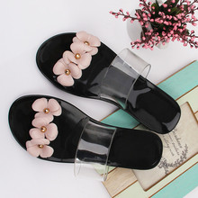 Beach shoes comfortable light breathable home slippers Three-dimensional flowers  cute flat anti-skid bath slippers