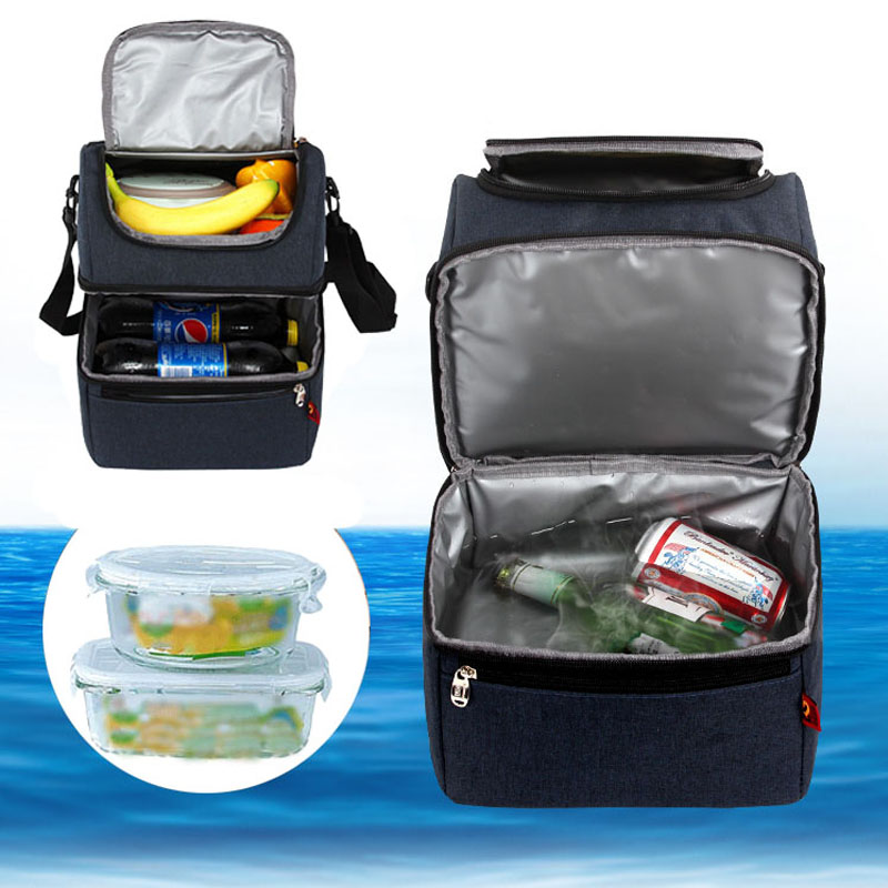 DENUONISS Summer Waterproof Picnic Cooler Bag Double Zipper Thermal Cooling Bags Thermo For Bottles And Fruits