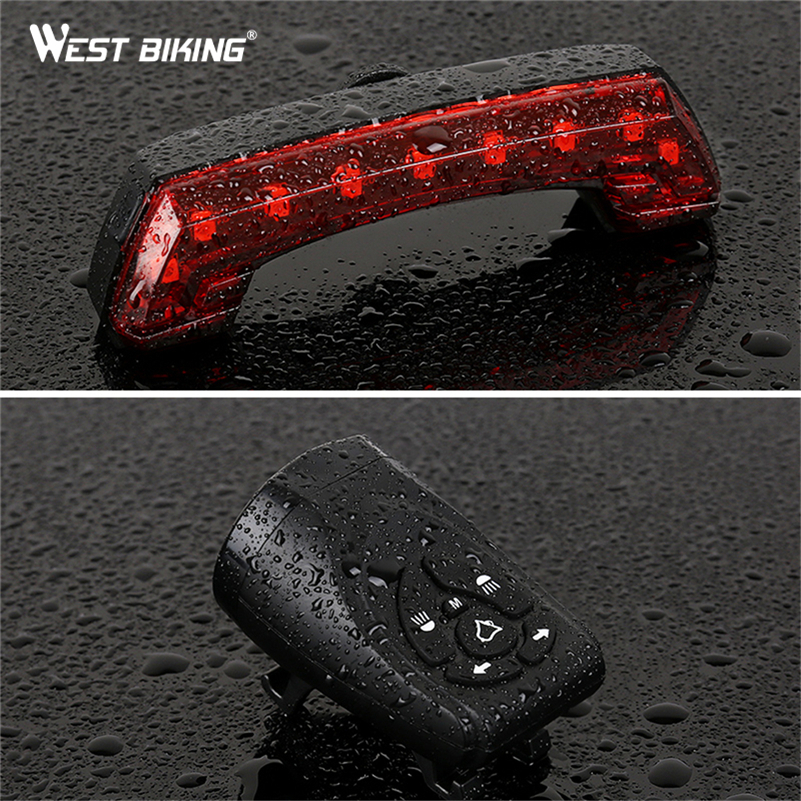 WEST BIKING MTB Bike Light USB Rechargeable Warning Cycling Rear Light Smart Wireless Remote Control Horn Tail Light Turn Signal in Bicycle Light from Sports Entertainment
