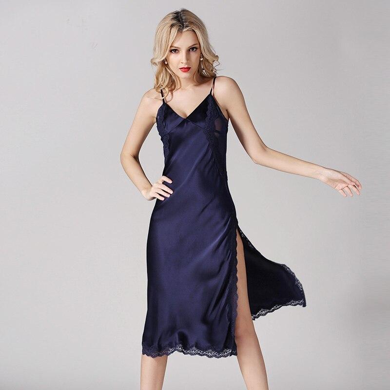 Schlaf-oberteile GroßZüGig High-grade 100% Seide Nachthemden V-ausschnitt Sexy Spitze Echte Seide Nachthemd Silber Hohe Qualität Kleidung Freies Verschiffen Auswahlmaterialien