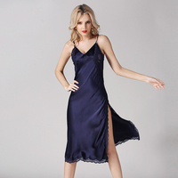 High Grade 100%Silk Nightgowns V Neck Sexy Lace Genuine Silk Nightdress Silver High Quality Clothing Free Shipping