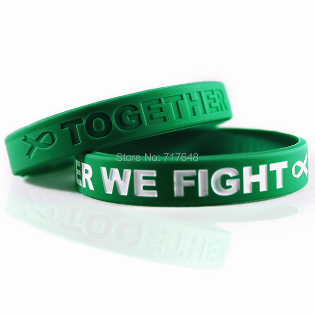 300pcs Awareness Liver Cancer Green Wristband Silicone Bracelets Free Shipping By Fedex