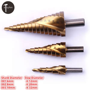 1 PC HSS 4-12mm/4-20mm/4-32mm Titanium Spiral Groove Step Drill Bit