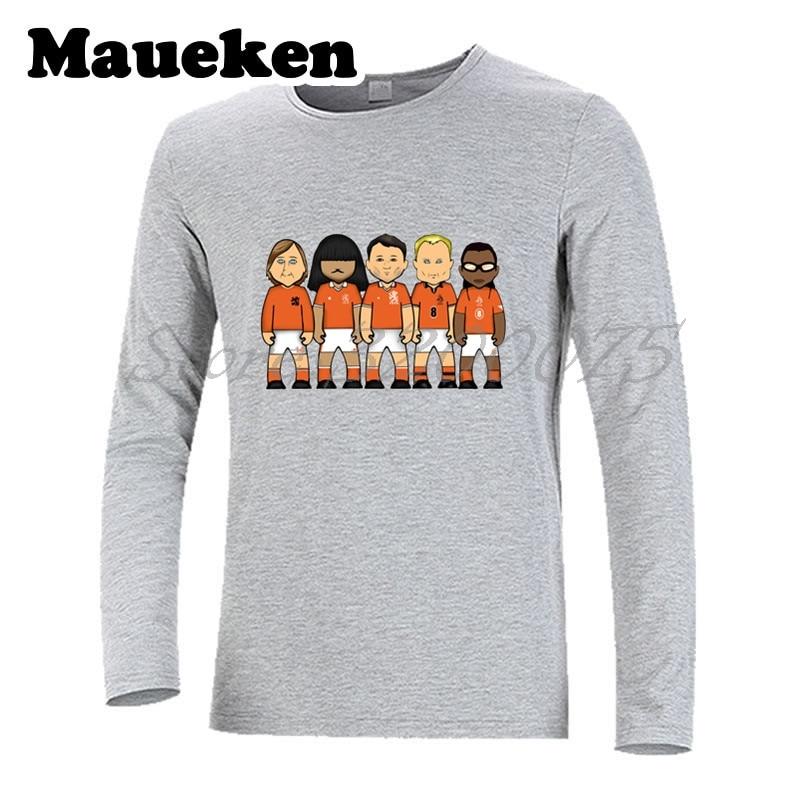 b5aba7ad8 Men s Long Sleeve netherlands legends Johan Cruyff Edgar Davids Ruud Gullit  Dennis Bergkamp Marco Van Basten T Shirt W17080617-in T-Shirts from Men s  ...