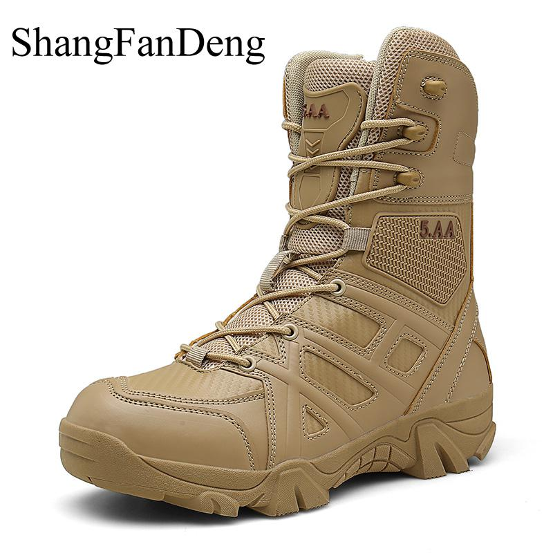 Men Boots Tactical-Shoes Desert Motorcycle Military Ankle-Botas Winter 47 Plus-Size High-Quality title=