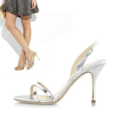 ФОТО summer sweet solid silver/gold color thin heels shoes up heel woman wedding shoes strap sandals plus size women shoes