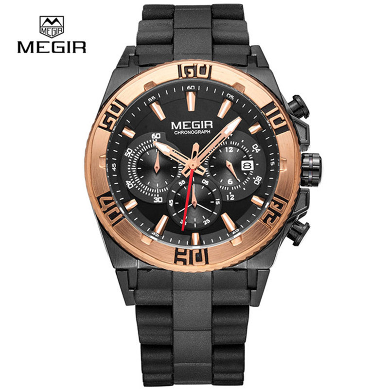 Fashion Men's Wrist Watches Male Top Luxury Brand Megir Quartz Watch Men Military Chronograph Sport Watch Man Relogio Masculino megir mens chronograph 6 hands 24 hours function sport wrist watches luxury silicone military quartz watch man relogio masculino