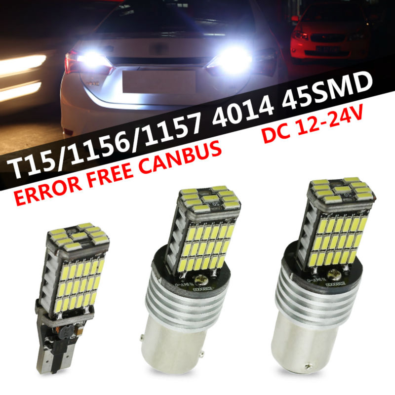 2pcs/lot White Canbus Error Free LED T15 921 912 W16W LED 1156 S25 1157 BaY15D Reverse Lights lamps 360 Degrees 45 SMD Car Led 2 x error free super bright white led bulbs for backup reverse light 921 912 t15 w16w for peugeot 408