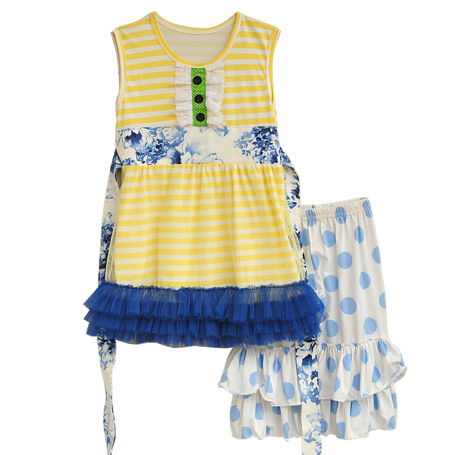 Summer Kids Boutique Cotton Clothing Yellow Stripes Lace Top With Belt Polka Dots Ruffle Shorts Girls Spring Outfits S003