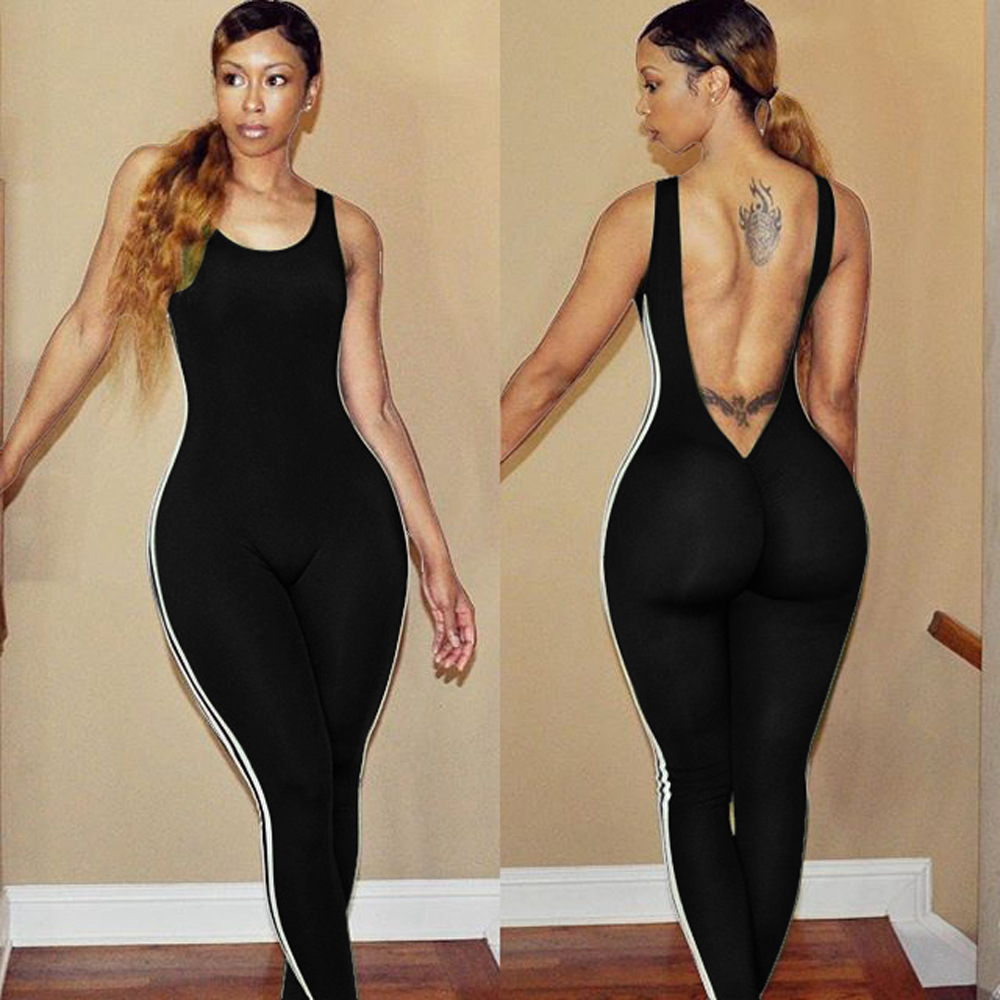 Side Striped Patchwork Rompers Womens Jumpsuit Sleeveless Backless Sporting Skinny One Piece Jumpsuits Black Sexy Club Outfit