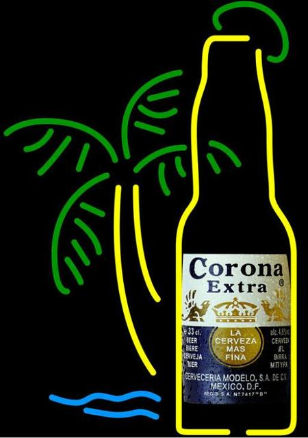 Corona Extra Bottle Glass Neon Light Sign Beer Bar
