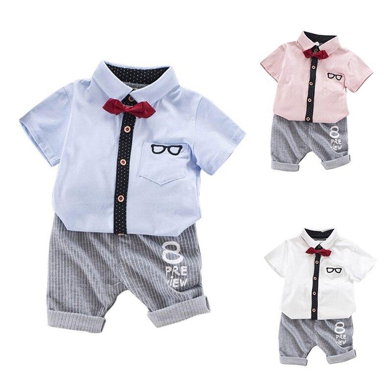 Нежный для маленьких мальчиков стиль новорожденных Детский комплект одежда для малышей мальчиков Очки футболка Шорты для женщин Брюки для ...