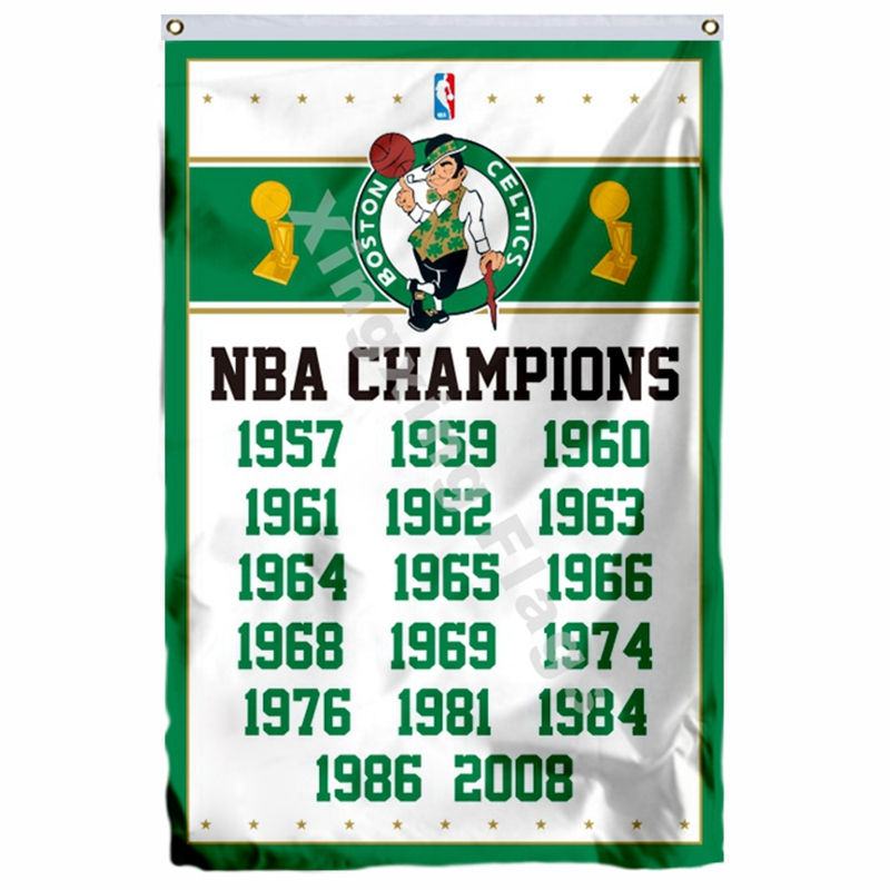 Boston Celtics World Champions Flag 3ft X 5ft Polyester NBA1 Banner Flying Size No.4 144* 96cm Custom Flag