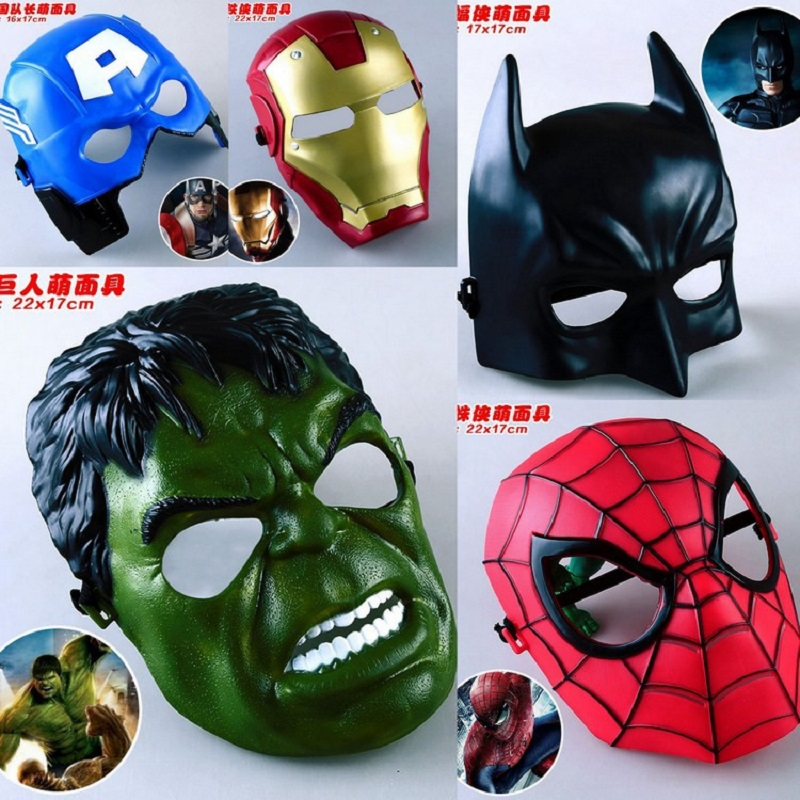5pcs / lot Marvel Film Masques Avengers Hulk Capitaine Amérique Batman Spiderman Ironman Parti Masque Garçon Cadeau Figurines Jouets #E