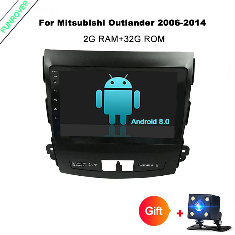 Funrover 9Android 8.0 Car GPS Navigation tape recorder for Mitsubishi Outlander 2006-2014 Peugeot 4007 Citroen C-Crosser wifi
